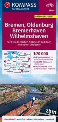 KOMPASS Fahrradkarte Bremen, Oldenburg, Bremerhaven, Wilhelmshaven 1:70.000, FK 3340
