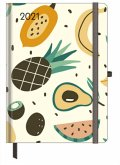 GreenLine Diary Happy Fruits 2021 - Buchkalender - Taschenkalender - 16x22