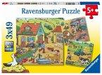 Ravensburger 05078 - Viel los auf dem Bauernhof, Puzzle, 3x49 Teile