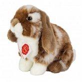 Teddy Hermann 93724 - Hase sitzend dunkelbraun weiß gescheckt, Bauernhoftier, Plüschtier, Stofftier, 20 cm