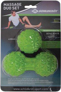 Schildkröt 960151 - Fitness Massage Duo Set, Duo-Ball mit Noppen plus Massageball mit Noppen Ø 60mm, Grün, Selbstmassage-Set, zur Muskelentspannung,