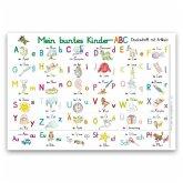 Mein buntes Kinder-ABC Druckschrift mit Artikeln Lernposter DIN A4 laminiert