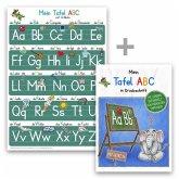 Mein Tafel-ABC Druckschrift mit Artikeln Lernposter DIN A4 + Schreiblernheft DIN A5, 2 Teile