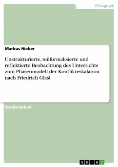 Unstrukturierte, teilformalisierte und reflektierte Beobachtung des Unterrichts zum Phasenmodell der Konflikteskalation nach Friedrich Glasl (eBook, PDF) - Hieber, Markus