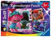 Ravensburger 05081 - Trolls, Welttournee, 3 Kinder-Puzzle mit Mini-Poster, 3x49 Teile