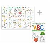 Mein buntes Kinder-ABC Grundschrift Lernposter DIN A3 laminiert + Schreiblernheft DIN A4, 2 Teile