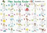 Mein buntes Kinder-ABC Grundschrift mit Artikeln Lernposter, glänzend, 300g, 32 x 46 cm