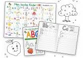 Mein buntes Kinder-ABC Grundschrift mit Artikeln Lernposter DIN A4 laminiert + Schreiblernheft DIN A5, 2 Teile