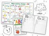 Mein buntes Kinder-ABC Druckschrift Lernposter DIN A4 laminiert + Schreiblernheft DIN A5, 2 Teile