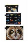 LOQI National Geographic Owl, Butterflies, Penguins Zip Pockets