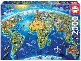 Carletto 9217129 - Educa, World Landmarks Globe, Weltkarte weltweite Symbole, Puzzle, 2000 Teile