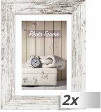 2x1 ZEP Nelson 6 weiß/br. 13x18 Holz Bilderrahmen V21576