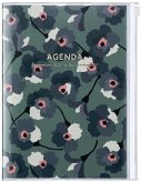MARK'S 2020/2021 Taschenkalender A5 vertikal, Flower Pattern Green