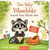 Der Baby Waschbär braucht keine Windel mehr