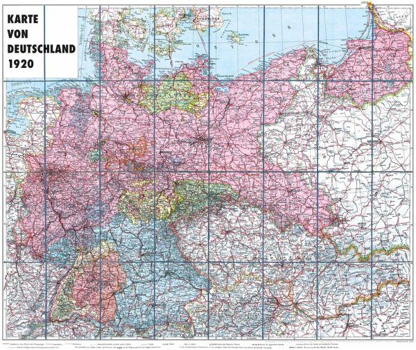 Karte Von Deutschland 1920 Gerollt Landkarten Portofrei Bei