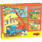HABA 305469 - Puzzles Auf der Baustelle, 3 Puzzle, 24 Teile