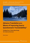 Advance Translation as a Means of Improving Source Questionnaire Translatability? (eBook, PDF)