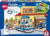 Schmidt 56351 - Polizeihubschrauber (SIKU 0807) mit Puzzle, 60 Teile
