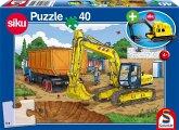 Schmidt 56350 - Bagger (SIKU 0801) mit Puzzle, 40 Teile