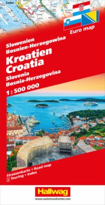Kroatien, Slowenien, Bosnien-Herzegowina Strassenkarte 1:500 000
