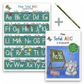 Mein Tafel-ABC Druckschrift Lernposter DIN A4 + Schreiblernheft DIN A5 auf 120g/m² Zeichenkarton + Staedler Bleistift, 3