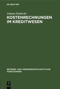 Kostenrechnungen im Kreditwesen (eBook, PDF) - Diedrichs, Johann