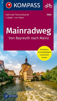 Fahrrad-Tourenkarte Mainradweg, Von Bayreuth nach Mainz