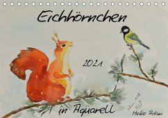 Eichhörnchen in Aquarell (Tischkalender 2021 DIN A5 quer)