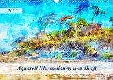 Aquarell Illustrationen vom Darß (Wandkalender 2021 DIN A3 quer)