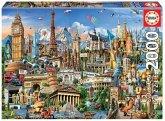 Carletto 9217697 - Educa, Europe Landmarks, Symbole Europa, Puzzle, 2000 Teile