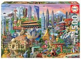 Carletto 9217979 - Educa, Asia Landmarks, Symbole Asien, Puzzle, 1500 Teile