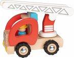 Goki 55789 - Feuerwehr Leiterwagen, mit Feuerwehrmann-Figur, Holz