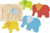 Goki 57450 - Schichtpuzzle Elefant, Holz, 5 Teile