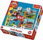 Trefl 34311 - Feuerwehrmann Sam, Puzzle 4 in 1, 35/48/54/70 Teile