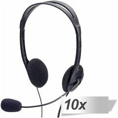 10x ednet Multimedia Stereo Headset mit Mikrofon 1,8m