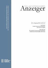Geistes-, sozial- und kulturwissenschaftlicher Anzeiger 154. Jahrgang 2019, Heft 1+2