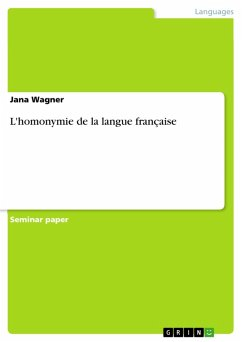 L'homonymie de la langue française (eBook, PDF)