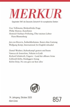 MERKUR Gegründet 1947 als Deutsche Zeitschrift für europäisches Denken - Nr. 857, Heft 10/ September 2020
