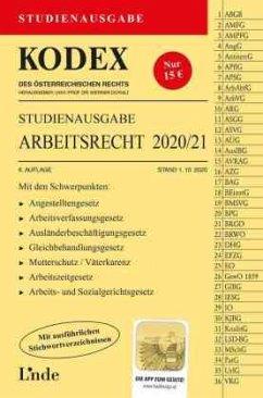 KODEX Studienausgabe Arbeitsrecht 2020/21 - Ercher-Lederer, Gerda;Stech, Edda