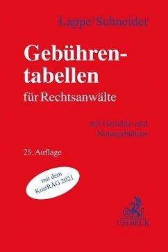 Gebührentabellen für Rechtsanwälte - Lappe, Friedrich;Schneider, Hagen