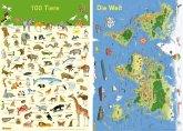 Mein Lernposter: 2er-Set 100 Tiere / Die Welt