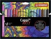 Filzstift mit Kappenring - STABILO Cappi - ARTY - 18er Pack - mit 18 verschiedenen Farben