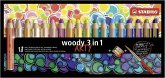 STABILO woody 3 in 1 - ARTY - 18er Pack mit Spitzer und Pinsel