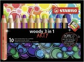 STABILO Buntstifte woody 3in1 ARTY 10er Set mit Spitzer