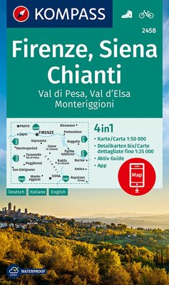 KOMPASS Wanderkarte Firenze, Siena, Chianti, Val di Pesa, Val d'Elsa, Monteriggioni
