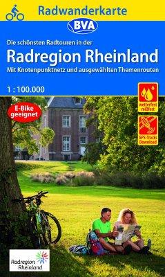 Radwanderkarte BVA Die schönsten Radtouren in der RadRegion Rheinland 1:100.000, reiß- und wetterfest, GPS-Tracks Downlo