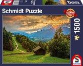Sonnenuntergang über dem Bergdorf Wamberg (Puzzle)