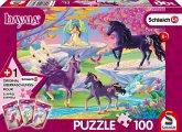 Schmidt 56396 - Schleich, Bayala, Lichtung mit Einhornfamilie, Puzzle mit Figur, 100 Teile