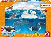 Schmidt 56405 - Schleich, Wild Life, In der Arktis, Puzzle mit Figur, 60 Teile