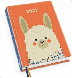 Alpaka Taschenkalender 2022 - Tier-Illustration von Dawid Ryski - Terminplaner mit Wochenkalendarium - Format 11,3 x 16,3 cm